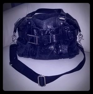 L.A.M.B. black distressed buckle shoulder bag